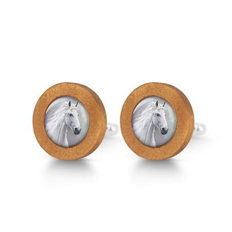 Cufflinks, wooden - White horse