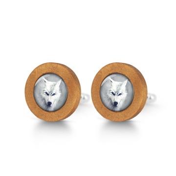 Cufflinks, wooden - White wolf - brown