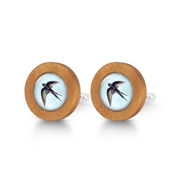 Wooden cufflinks - Swallow