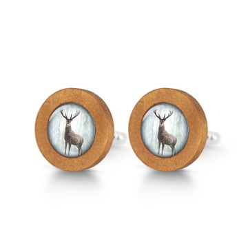 Wooden cufflinks - Deer in winter