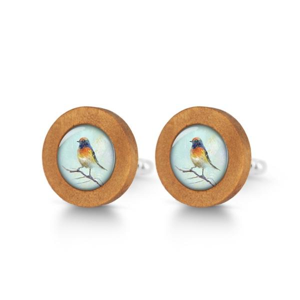 Drewniane spinki do mankietów - Kolorowy ptaszek