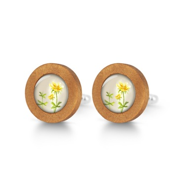Wooden cufflinks - Flower