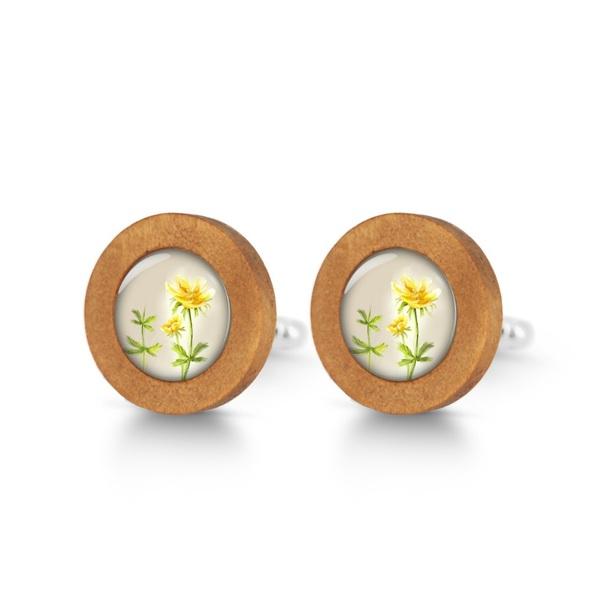 Drewniane spinki do mankietów - Kwiatek