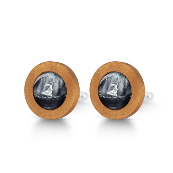 Wooden cuff links - Magic forest