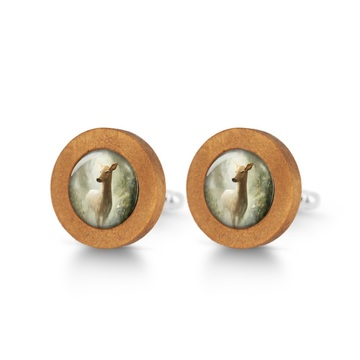 Wooden cufflinks - Roe deer in the woods