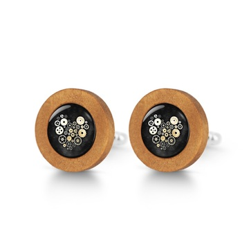 Wooden cufflinks - Steampunk black heart
