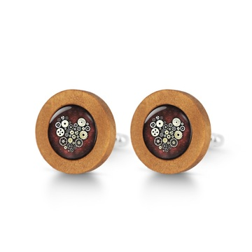 Wooden cufflinks - Steampunk heart