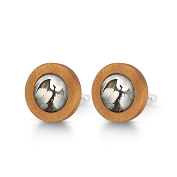 Wooden cufflinks - Shadow dragon