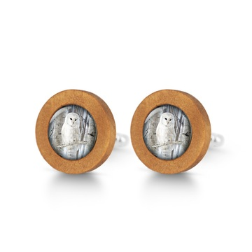 Wooden cufflinks - Owl
