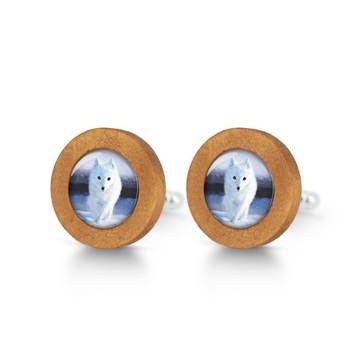 Wooden cuff links - Snow fox