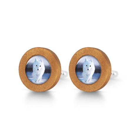 Wooden cuff links - Snow fox