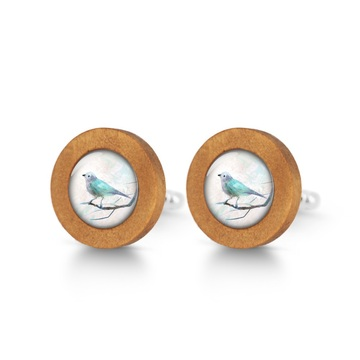 Wooden cufflinks - Turquoise bird