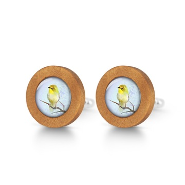 Wooden cufflinks - Yellow bird