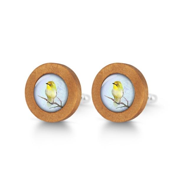 Drewniane spinki do mankietów - Żółty ptaszek
