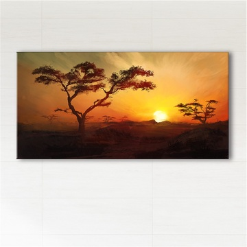 Picture - Africa, sunset - print on canvas