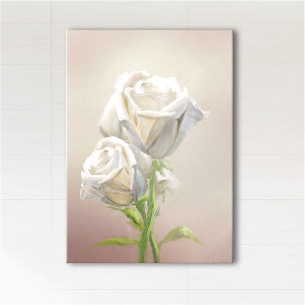Painting - White rose - print on canvas