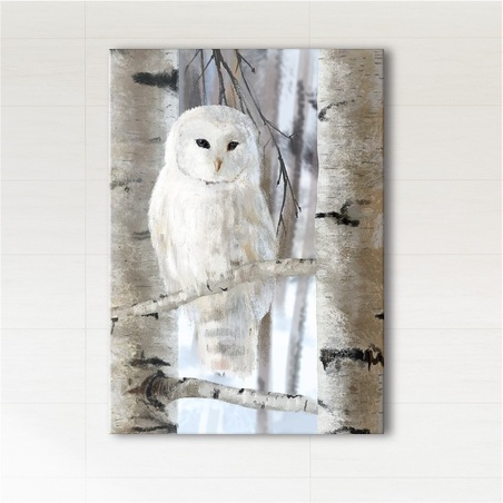 Painting - White owl - print on canvas