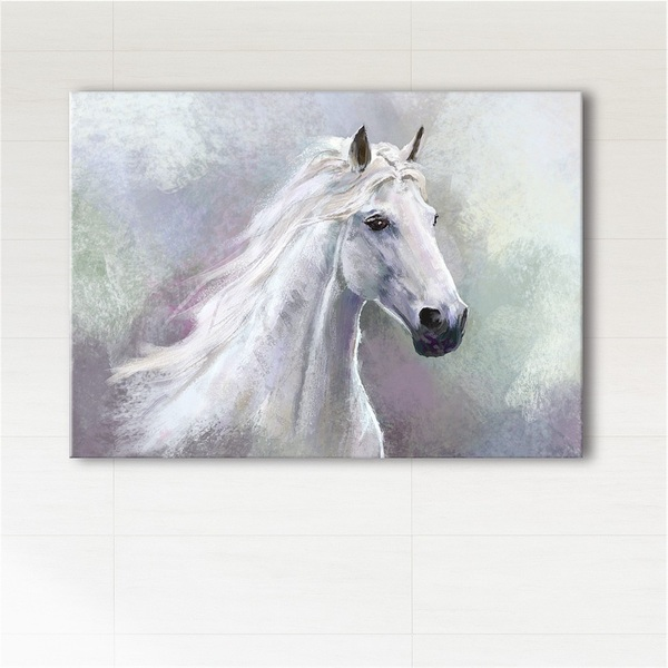 Painting - White horse - print on canvas