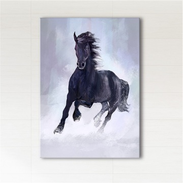 Painting - Black running horse - print on canvas