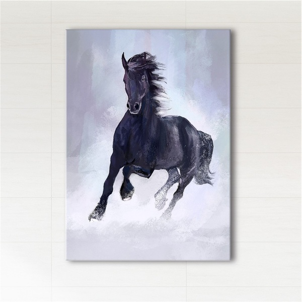 Obraz - Czarny koń biegnący  - wydruk na płótnie
