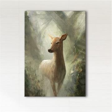 Obraz - Sarna w lesie  - wydruk na płótnie