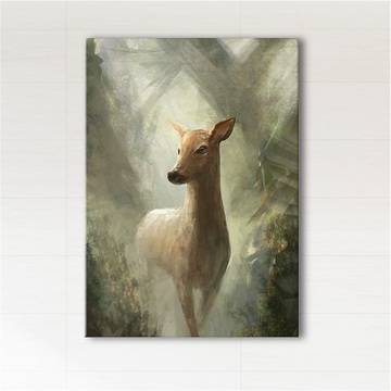Picture - Roe deer in the woods - print on canvas