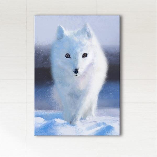 Obraz - Śnieżny lis  - wydruk na płótnie