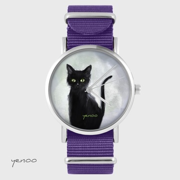 Yenoo watch - Black cat - purple, nylon