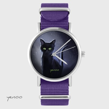 Yenoo watch - Black cat, night - purple, nylon