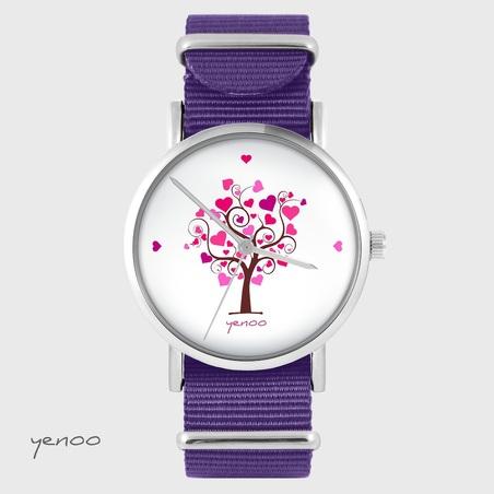 Yenoo watch - Tree of love - purple, nylon