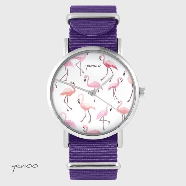 Yenoo watch - Flamingos - purple, nylon