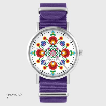 Yenoo watch - Folk mandala - purple, nylon