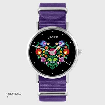 Yenoo watch - Folk heart, black - purple, nylon