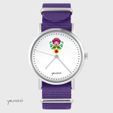 Yenoo watch - Folk flower - purple, nylon
