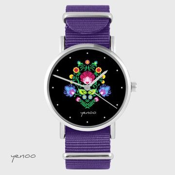 Yenoo watch - Folk, black - purple, nylon