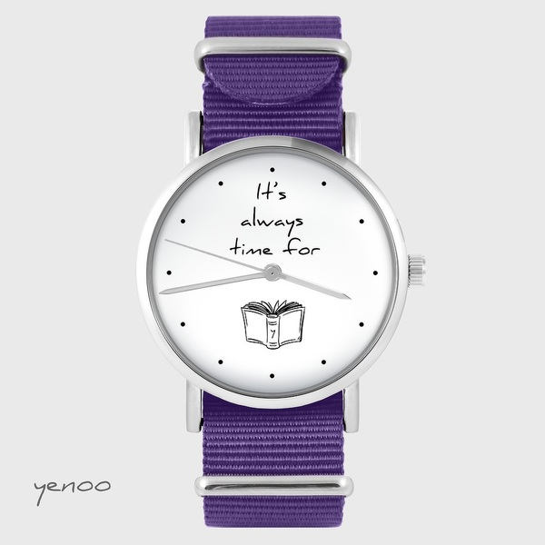 Watch yenoo - It is always time for a book - purple, nylon