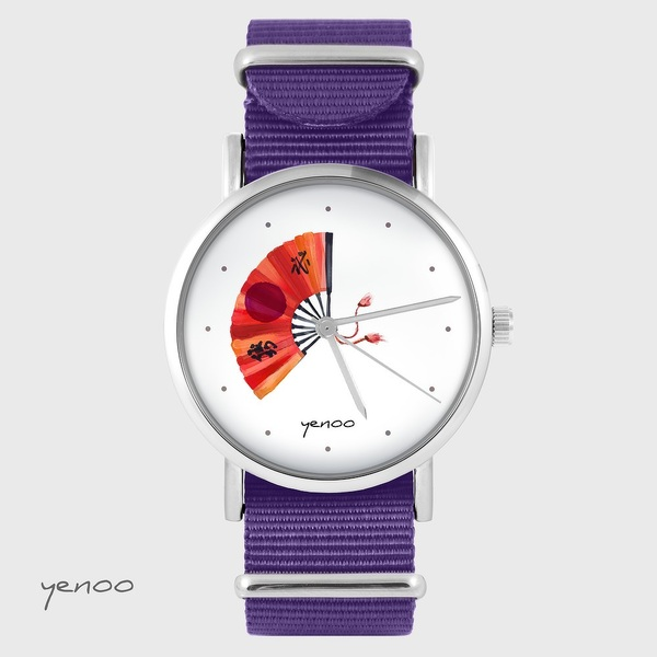 Zegarek yenoo - Japoński wachlarz - fiolet, nylonowy