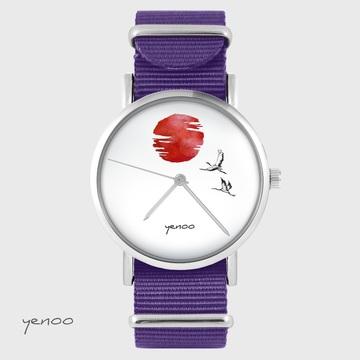 Yenoo watch - Japanese cranes against the sun - purple, nylon