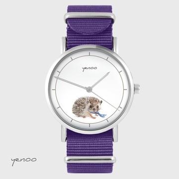 Yenoo watch - Hedgehog - purple, nylon