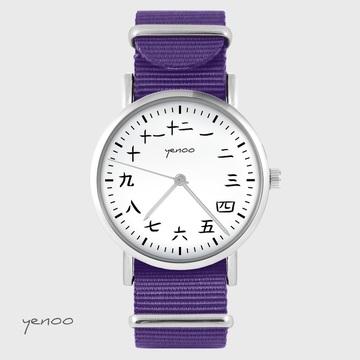 Yenoo watch - Kanji - purple, nylon