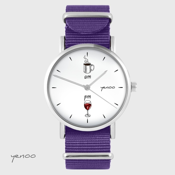 Yenoo watch - Coffee and wine - purple, nylon