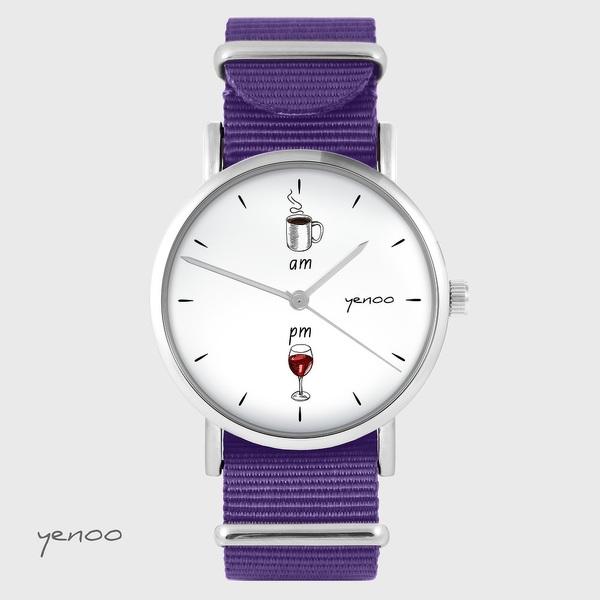 Zegarek yenoo - Kawa i wino - fiolet, nylonowy