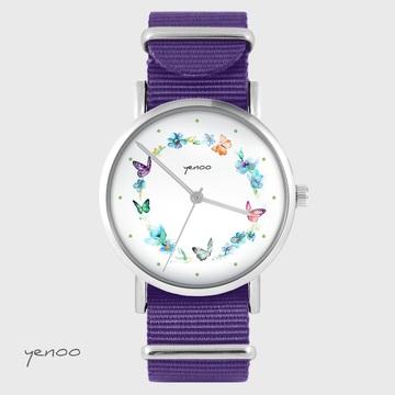 Yenoo watch - Colorful wreath - purple, nylon
