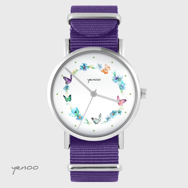 Yenoo watch - Colorful wreath - purple, nylon