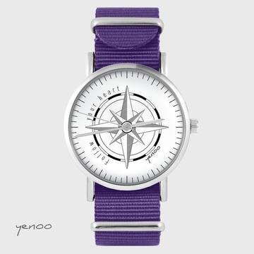 Yenoo watch - Compass - purple, nylon
