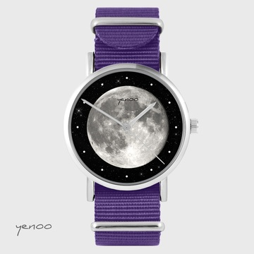 Yenoo watch - Moon - purple, nylon