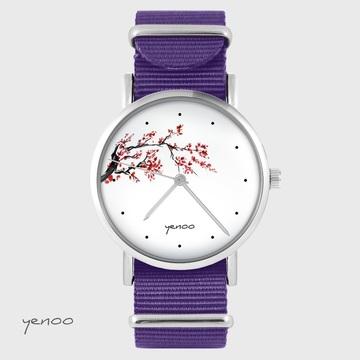 Yenoo Watch - Cherry Blossom - Purple, Nylon