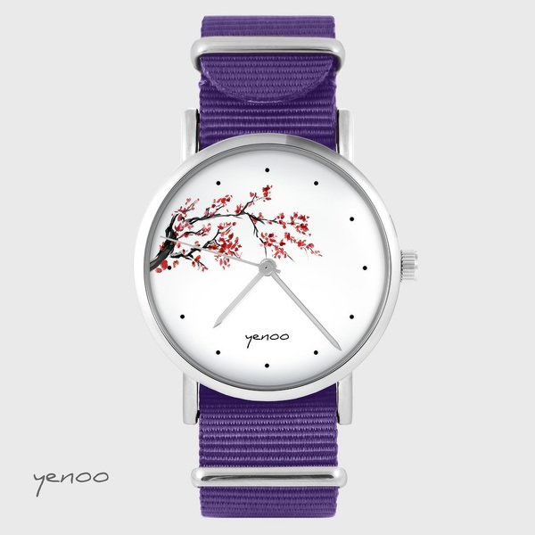 Yenoo Watch - Cherry Blossom - Purple, Nylon