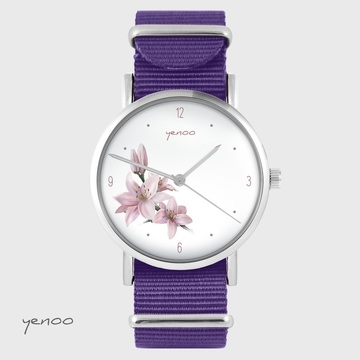 Yenoo watch - Lily - purple, nylon