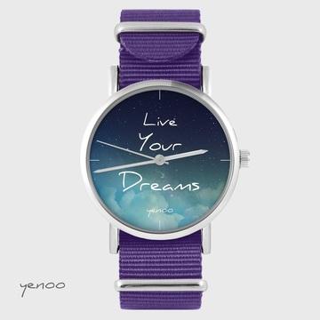 Yenoo watch - Live Your Dreams - purple, nylon